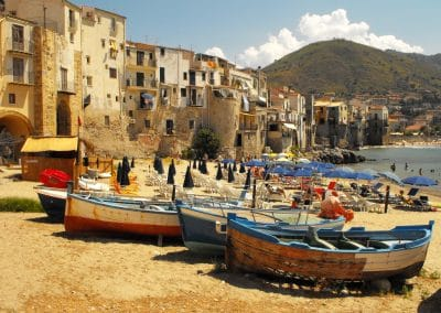 Cefalù - boats on the beach, Sicily