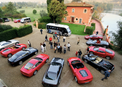 Villa La Massa - A flock of Ferrari cars at the ready with our professional partners Red Travel