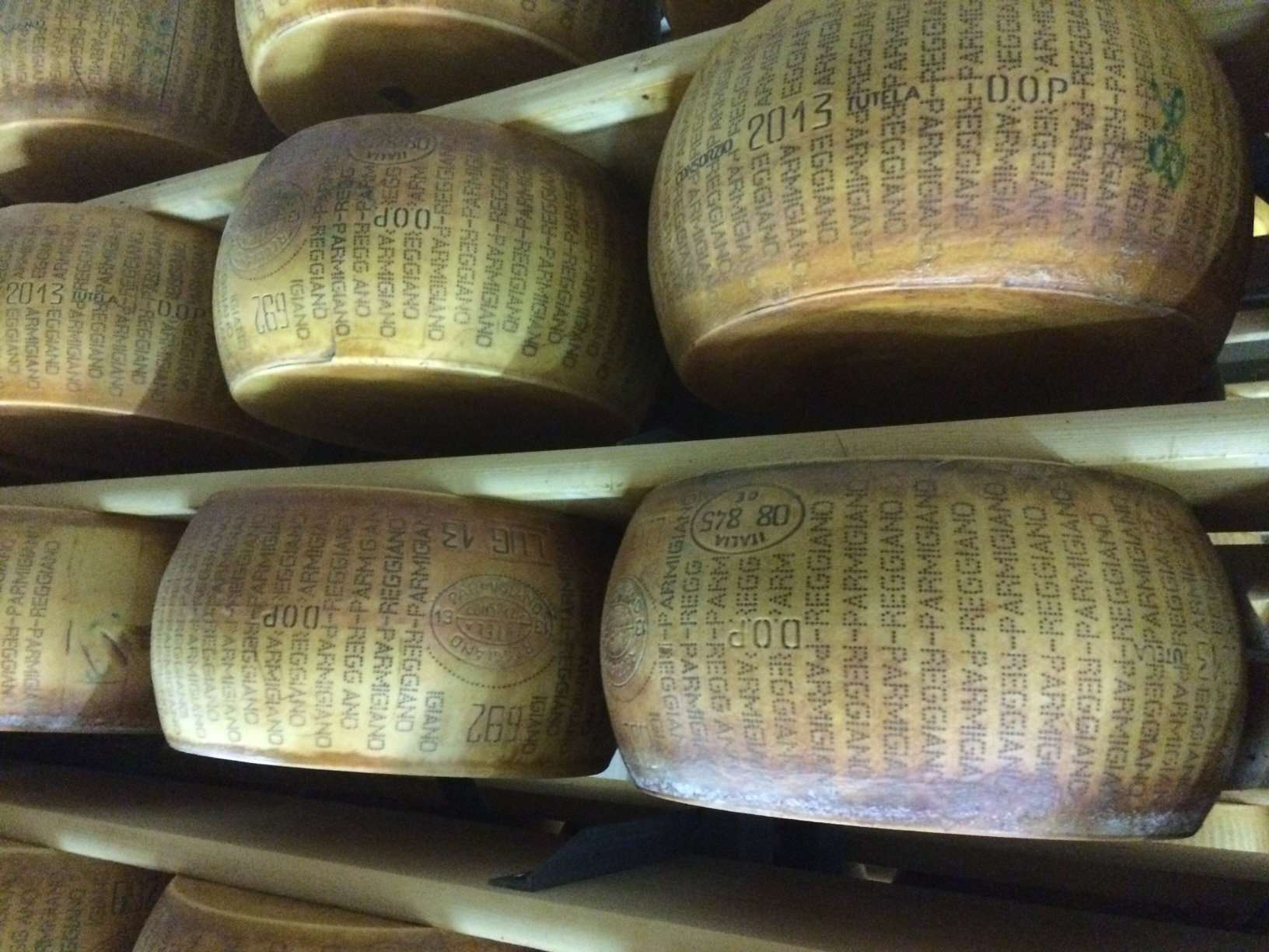Parmesan wheels are aged for years - here in Emilia Romagna the Parmigiano Reggiano is world famous
