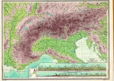 1906 - Relief Map of Northern Italy by Geo Philip & Son - www.grand-tourist.com