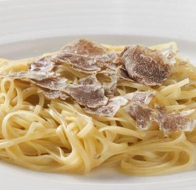Fresh pasta with delicately sliced truffle