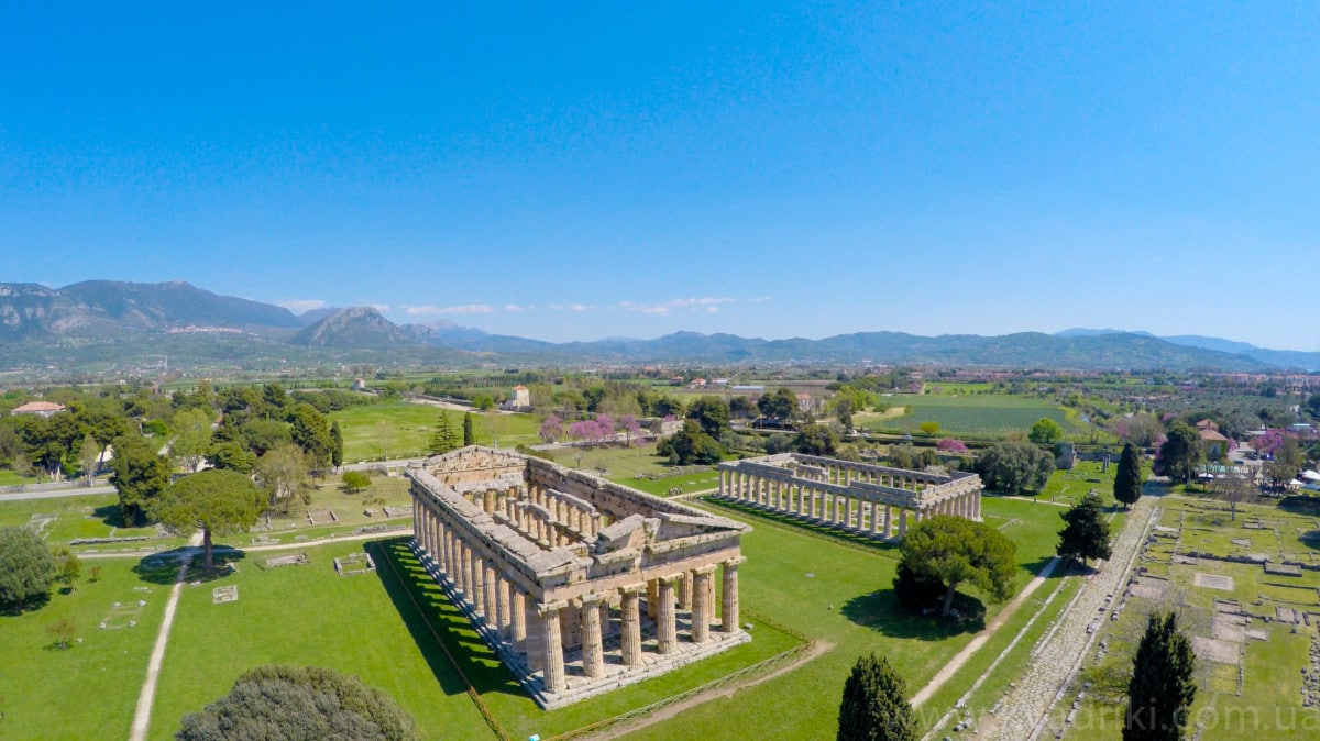 Paestum - aerial view of the Greek Temples
