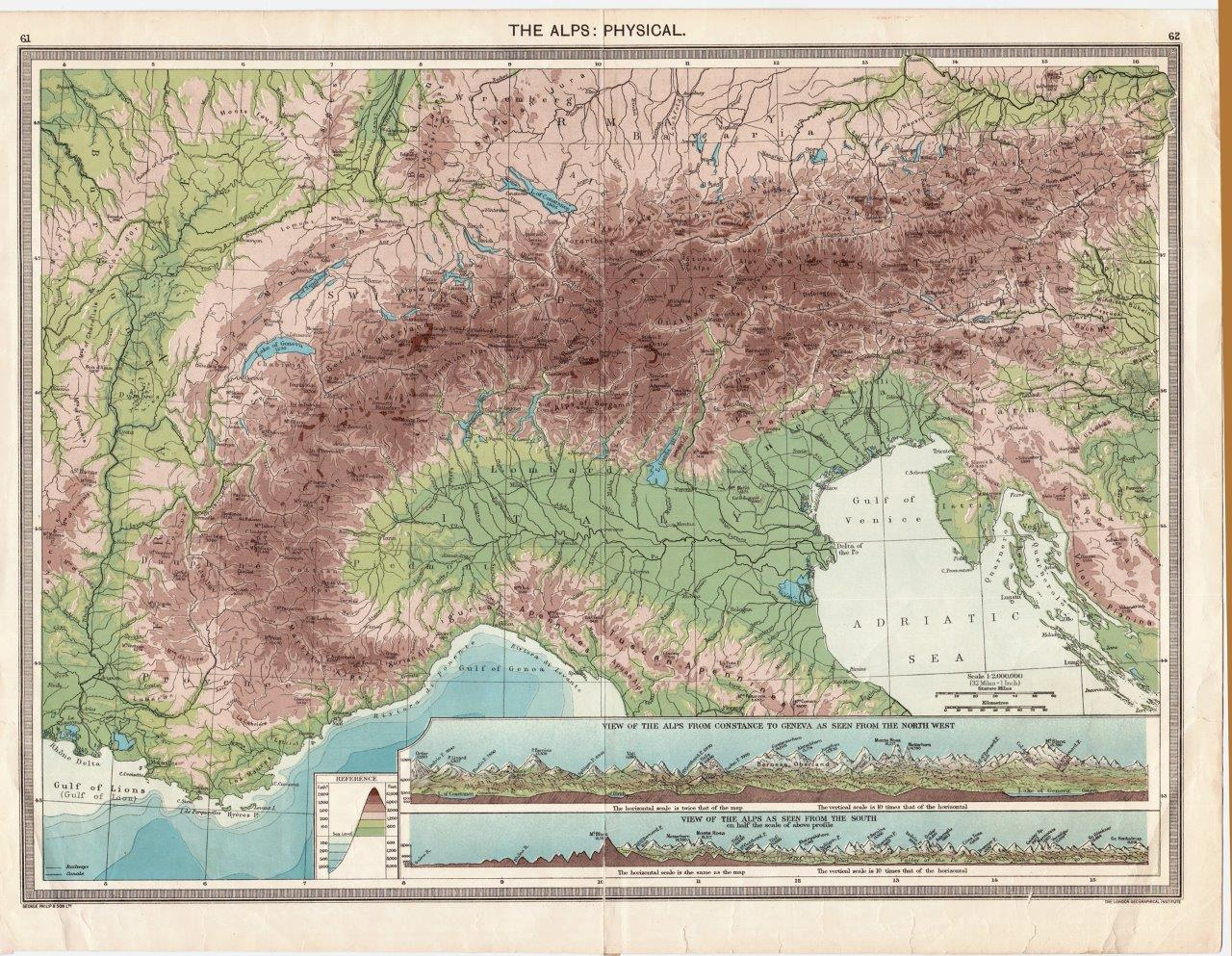 Northern Italy - Relief Map - 1906 - jpg