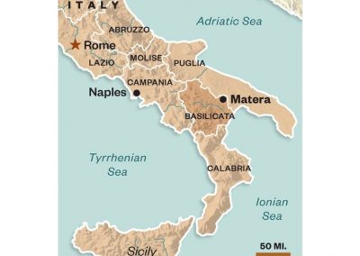 Southern Italy with regions of Basilicata, Puglia, Campania and Calabria clearly shown