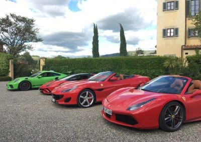 Four beauties in a row - Ferrari, Porsche, Lamborghini - Villa La Massa, Firenze, Toscana