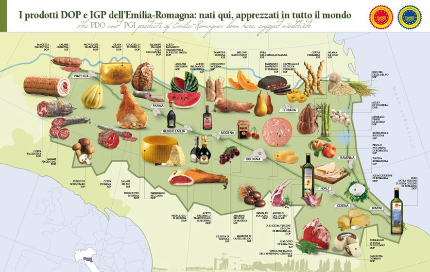 Food map of Emilia Romagna region showing some places where our Italy food tour visits
