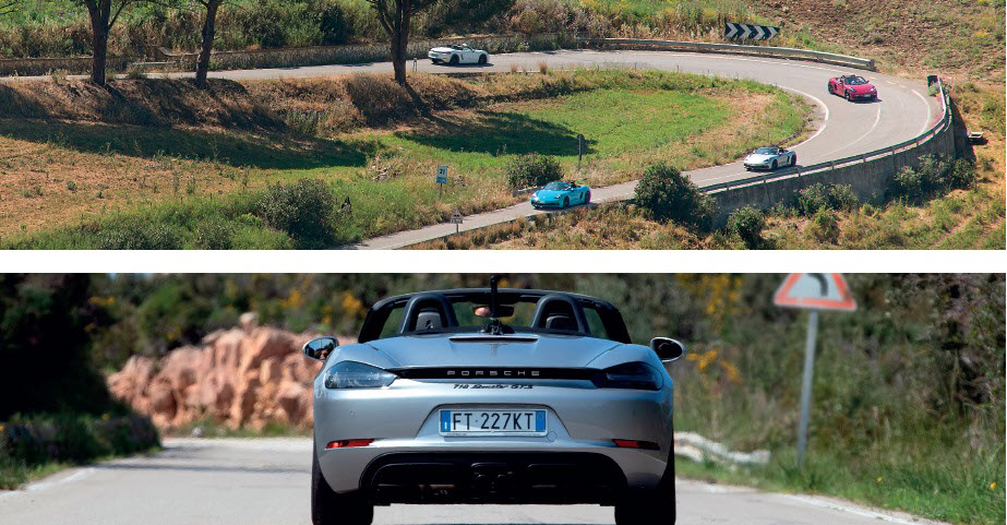 Gallery image for driving experience in Sicily - multiple Porsches driving around a bend
