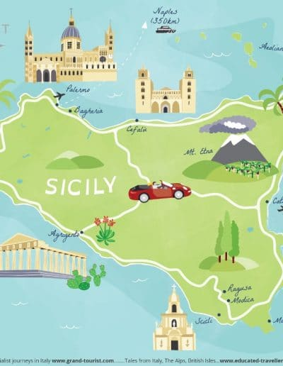 Sicily Map - commissioned by www.grand-tourist.com