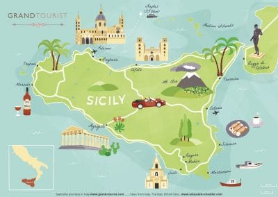 My fabulous Sicily Map - commissioned for www.grand-tourist.com